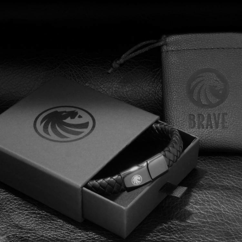 BRAVE - HERO – Fekete Fonott Bőr Karkötő